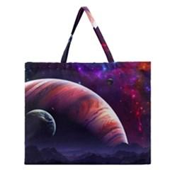 Space Art Nebula Zipper Large Tote Bag