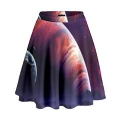 Space Art Nebula High Waist Skirt