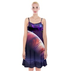 Space Art Nebula Spaghetti Strap Velvet Dress