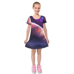 Space Art Nebula Kids  Short Sleeve Velvet Dress