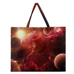 Space Red Zipper Large Tote Bag