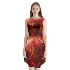 Space Red Sleeveless Chiffon Dress