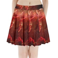Space Red Pleated Mini Skirt