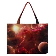 Space Red Medium Zipper Tote Bag