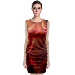 Space Red Sleeveless Velvet Midi Dress