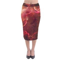 Space Red Velvet Midi Pencil Skirt