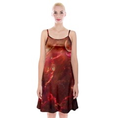 Space Red Spaghetti Strap Velvet Dress