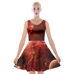 Space Red Velvet Skater Dress