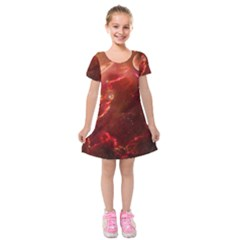 Space Red Kids  Short Sleeve Velvet Dress