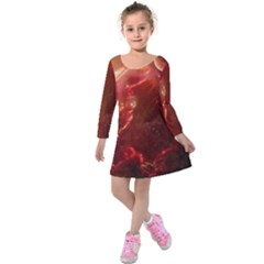 Space Red Kids  Long Sleeve Velvet Dress