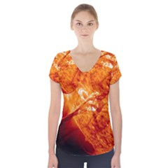 Spectacular Solar Prominence Short Sleeve Front Detail Top