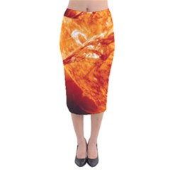 Spectacular Solar Prominence Velvet Midi Pencil Skirt