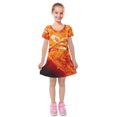 Spectacular Solar Prominence Kids  Short Sleeve Velvet Dress
