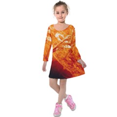 Spectacular Solar Prominence Kids  Long Sleeve Velvet Dress