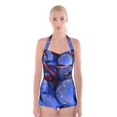 Spheres With Horns 3d Boyleg Halter Swimsuit