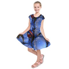 Spheres With Horns 3d Kids  Short Sleeve Dress
