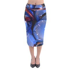 Spheres With Horns 3d Velvet Midi Pencil Skirt