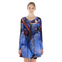 Spheres With Horns 3d Long Sleeve Velvet V Neck Dress