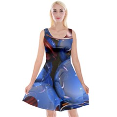 Spheres With Horns 3d Reversible Velvet Sleeveless Dress