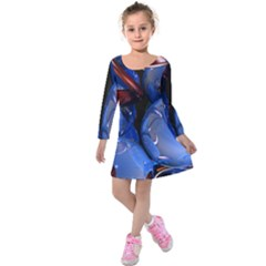 Spheres With Horns 3d Kids  Long Sleeve Velvet Dress