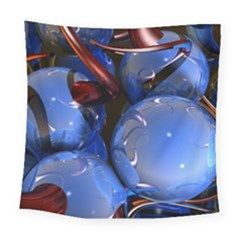 Spheres With Horns 3d Square Tapestry (Large)