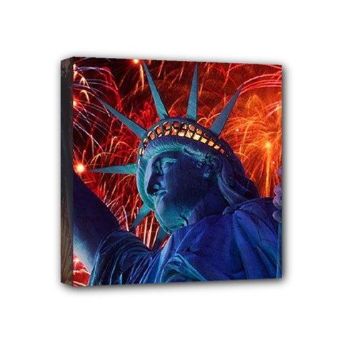 Statue Of Liberty Fireworks At Night United States Of America Mini Canvas 4  X 4
