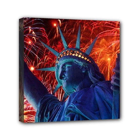 Statue Of Liberty Fireworks At Night United States Of America Mini Canvas 6  X 6