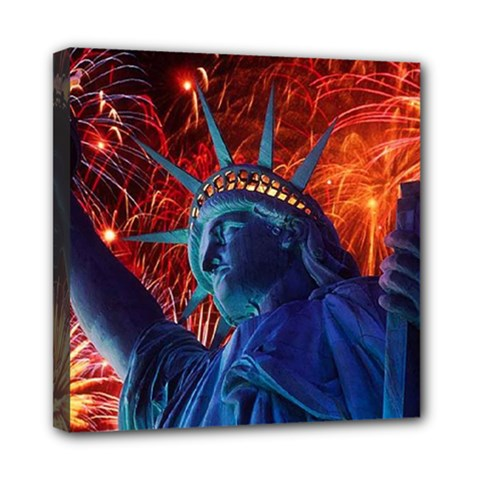 Statue Of Liberty Fireworks At Night United States Of America Mini Canvas 8  X 8
