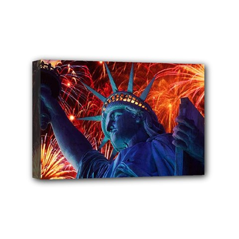 Statue Of Liberty Fireworks At Night United States Of America Mini Canvas 6  X 4
