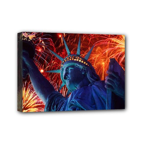 Statue Of Liberty Fireworks At Night United States Of America Mini Canvas 7  X 5