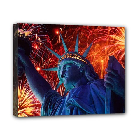 Statue Of Liberty Fireworks At Night United States Of America Canvas 10  X 8