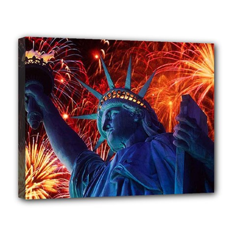 Statue Of Liberty Fireworks At Night United States Of America Canvas 14  X 11