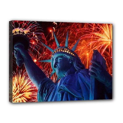 Statue Of Liberty Fireworks At Night United States Of America Canvas 16  X 12