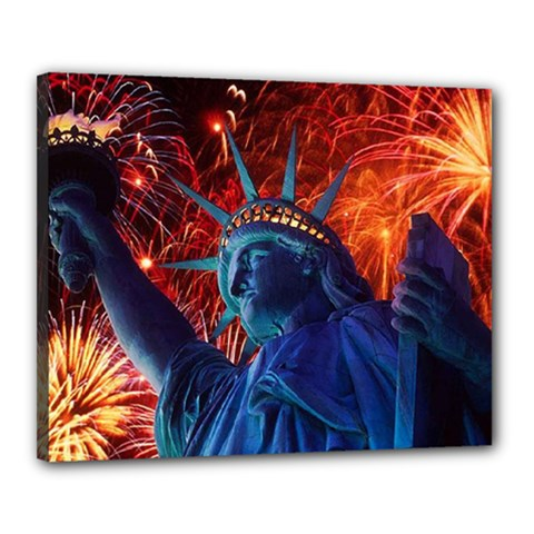 Statue Of Liberty Fireworks At Night United States Of America Canvas 20  X 16