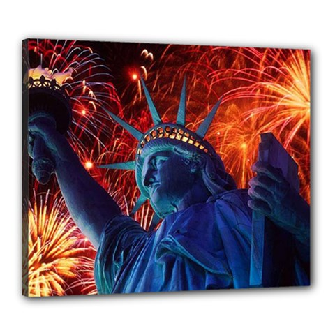 Statue Of Liberty Fireworks At Night United States Of America Canvas 24  X 20
