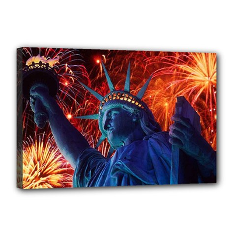 Statue Of Liberty Fireworks At Night United States Of America Canvas 18  X 12