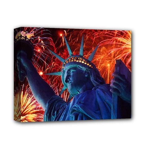 Statue Of Liberty Fireworks At Night United States Of America Deluxe Canvas 14  X 11