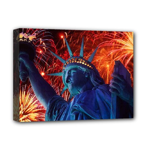 Statue Of Liberty Fireworks At Night United States Of America Deluxe Canvas 16  X 12