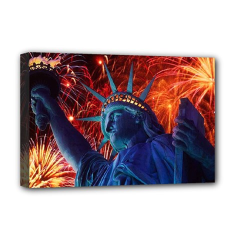 Statue Of Liberty Fireworks At Night United States Of America Deluxe Canvas 18  X 12