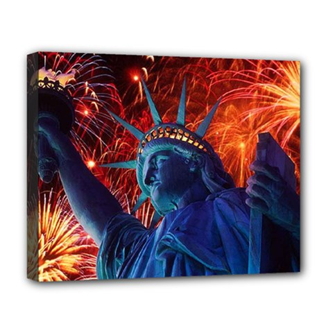 Statue Of Liberty Fireworks At Night United States Of America Deluxe Canvas 20  X 16
