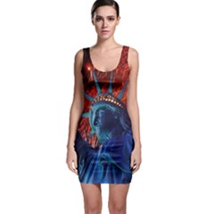 Statue Of Liberty Fireworks At Night United States Of America Sleeveless Bodycon Dress
