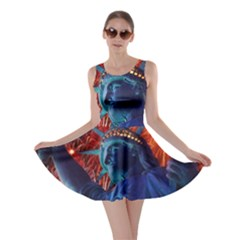 Statue Of Liberty Fireworks At Night United States Of America Skater Dress