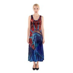 Statue Of Liberty Fireworks At Night United States Of America Sleeveless Maxi Dress