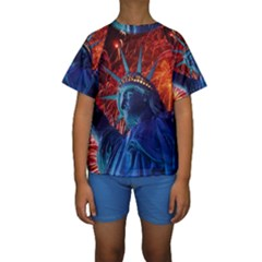 Statue Of Liberty Fireworks At Night United States Of America Kids  Short Sleeve Swimwear