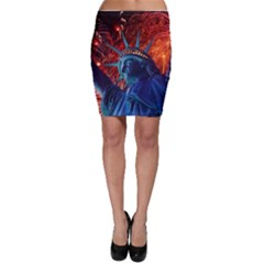 Statue Of Liberty Fireworks At Night United States Of America Bodycon Skirt