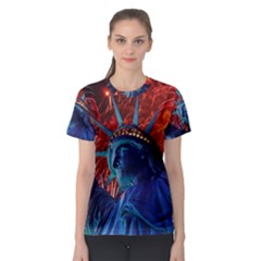 Statue Of Liberty Fireworks At Night United States Of America Women s Sport Mesh Tee