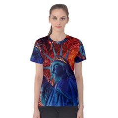 Statue Of Liberty Fireworks At Night United States Of America Women s Cotton Tee