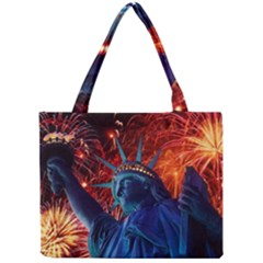 Statue Of Liberty Fireworks At Night United States Of America Mini Tote Bag
