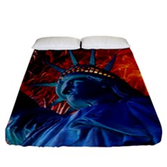 Statue Of Liberty Fireworks At Night United States Of America Fitted Sheet (california King Size)