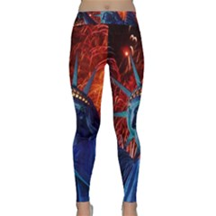 Statue Of Liberty Fireworks At Night United States Of America Classic Yoga Leggings